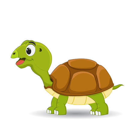 cartoon smiling turtle standing isolated on white background