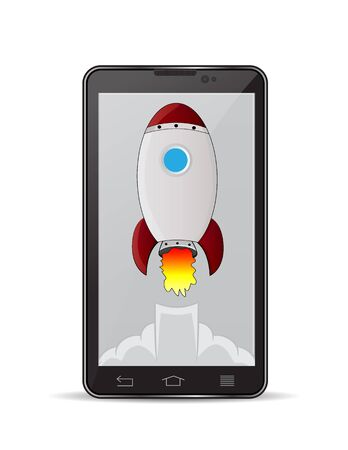 illustration black smartphone with launch rocket, concept