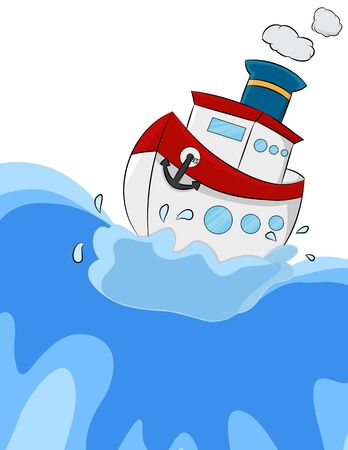 cartoon sea ship in the middle of wave Illustration