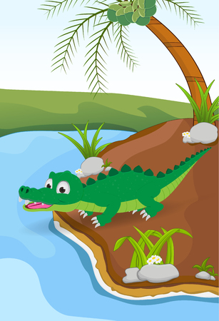 nautral: cartoon crocodile posing on the ground beside the river