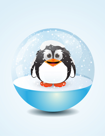 lite: cartoon penguin inside snow dome on blue lite background Illustration