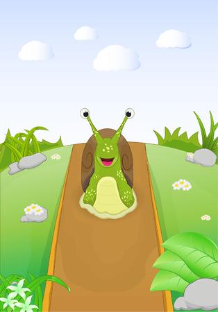 cartoon sute snail walking in the hill dirt road
