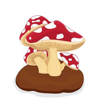 illustration of cartoon mushroom grown in soil