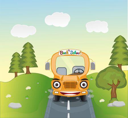 illustration of school bus cartoon on Mountains road landscape Illustration
