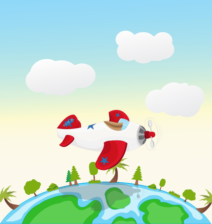 cartoon airplane with star sign flying above the globe Illustration
