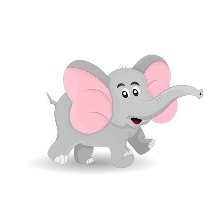 happy cute little elephant smile and walking around Illustration