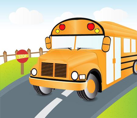 cartoon bus on street with traffic sign Illustration