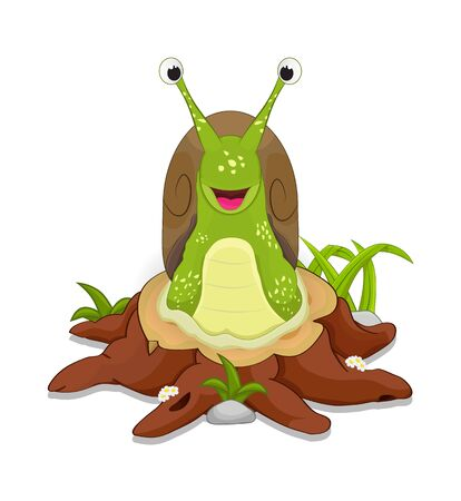 cartoon snail standing facong front on cutting tree