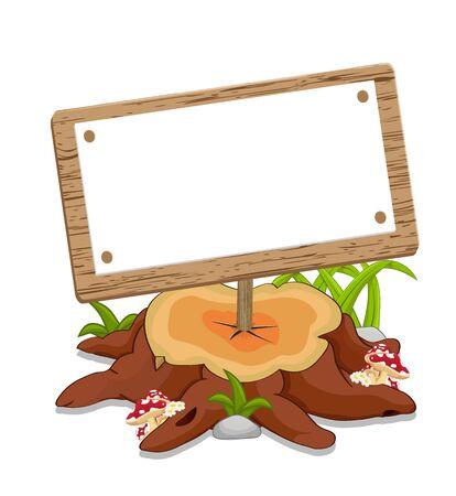 blank banner stuck on brown cutting tree