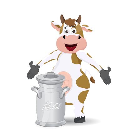cartoon cow female pose showing milk can