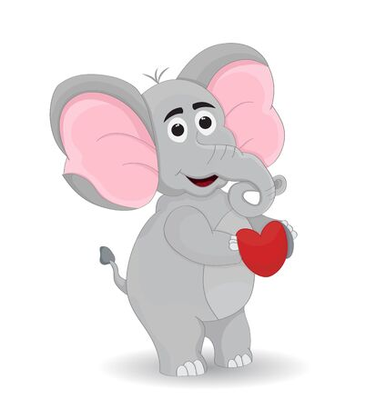 illustration elephant standing while holding heart sign