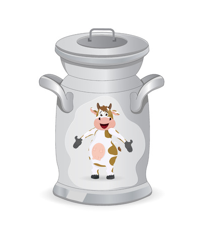 fresh milk in can container with cow picture Illustration