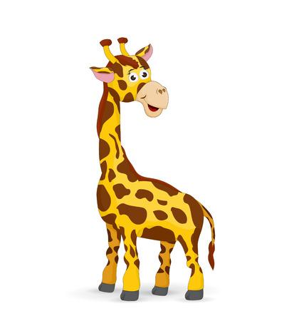illustration cartoon giraffe standing looking back and smile Illustration