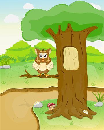 owl standing on tree branch, cartoon landscape