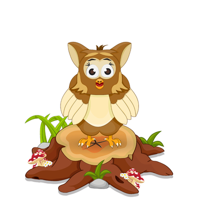 cartoon owl standing and stare on cutting tree Illustration