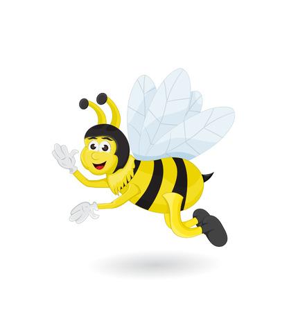 cartoon cute bee flying and waving pose
