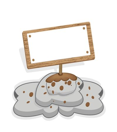 cartoon wood banner standing for your text Illustration