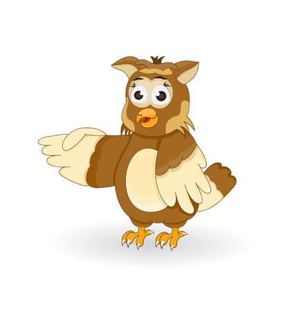 illustration cartoon funny owl character pointing isolated