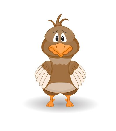 Vector illustration of scared chicken character isolated