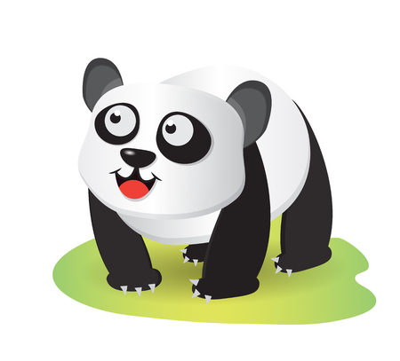 smiling panda cartoon walking on small grass