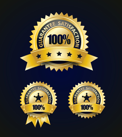 Golden Satisfaction Guarantee With Ribbon and stars Illustration