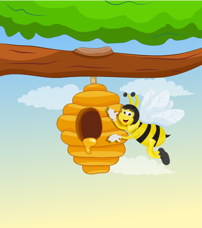 yellow bee flying around to hive and waving Illustration