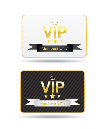 vip card in black and white color, isolated