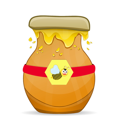Honey in clay pot with bee logo