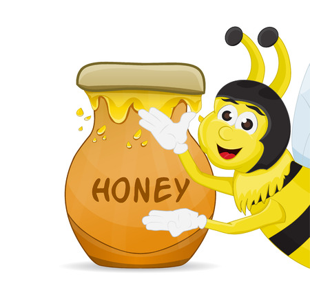 bee showing honey in the pot, isolated Illustration