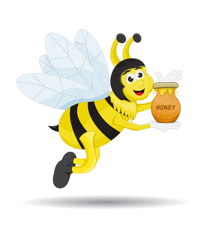 cartoon bee, holding and showing honey in clay pot