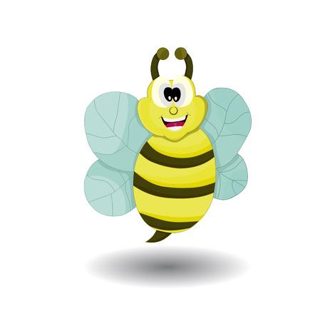 cartoon cute bee flying smiling with big eye Illustration