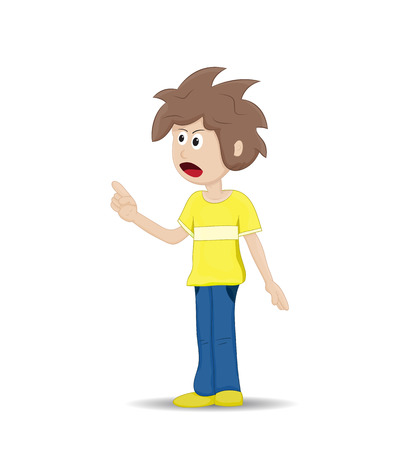 Cartoon angry teenage and pointing his hand