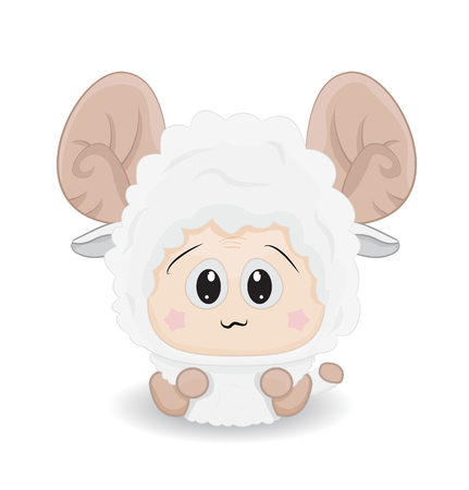 Cartoon cute baby sheep on ground isolated. Illustration