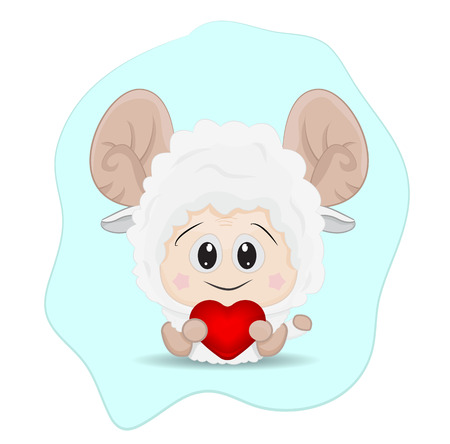 Cartoon baby sheep holding red love isolated.