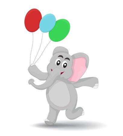 cartoon elephant walking happy holding ballon