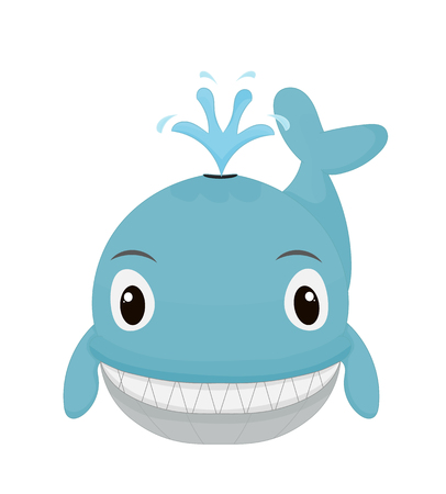 happy cartoon whale smiling solated on white background Illustration