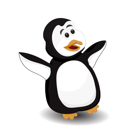 funny penguin surprise face vector isolated Illustration