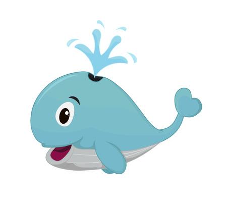 Illustration cartoon whale bluecolor isolatedon white background.