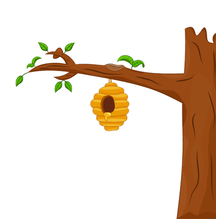 bee hive hang on the tree isolated Ilustrace