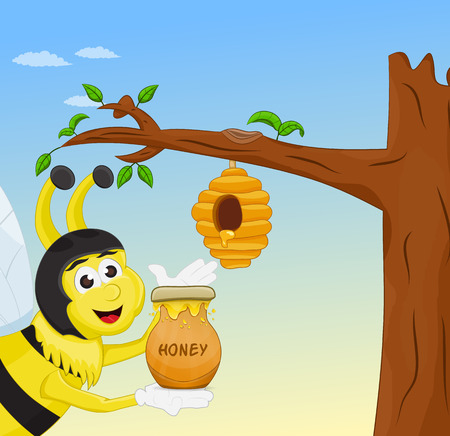 honey bee smiling holding honey jar near hive Illustration