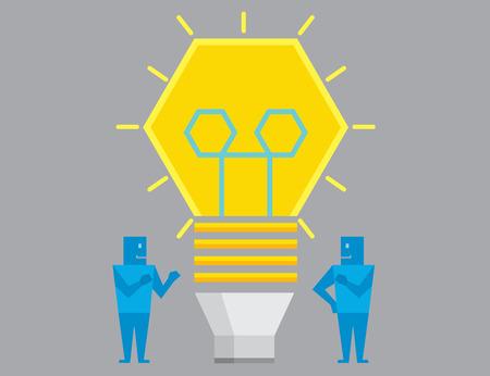cartoon light bulb: Two businessman get idea