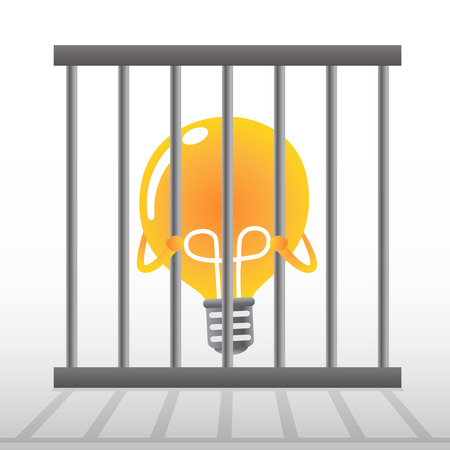 confined: Yellow bulb in cage