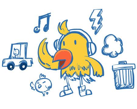 baile caricatura: Hip hop p�jaro
