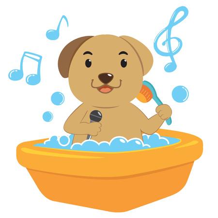 dog bite: Dog bath Vettoriali