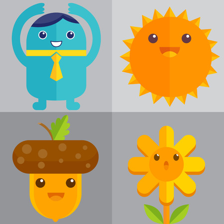 the sun sign: Cute object Illustration