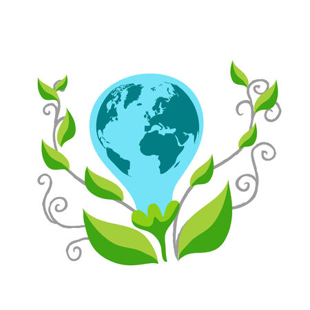 multi ethnic group: Eco Earth Illustration