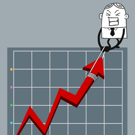 suspensory: ฺBusiness man up graph Illustration