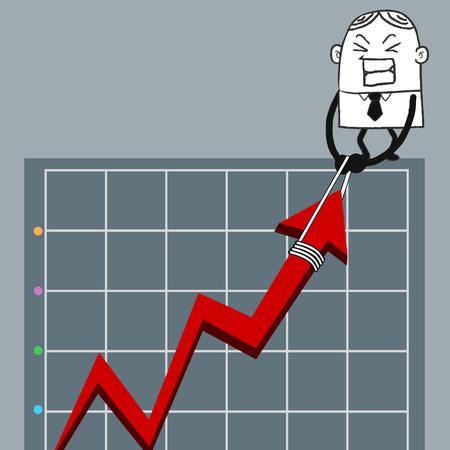 ฺBusiness man up graph Illustration
