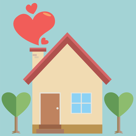 windows home: House heart Illustration