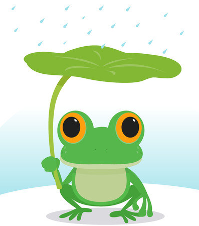 かわいいカエルの雨の中で